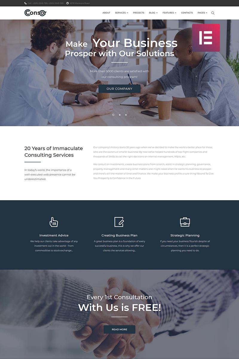 """Consor - Business Consulting Elementor"" Responsive WordPress thema №71650 - screenshot"