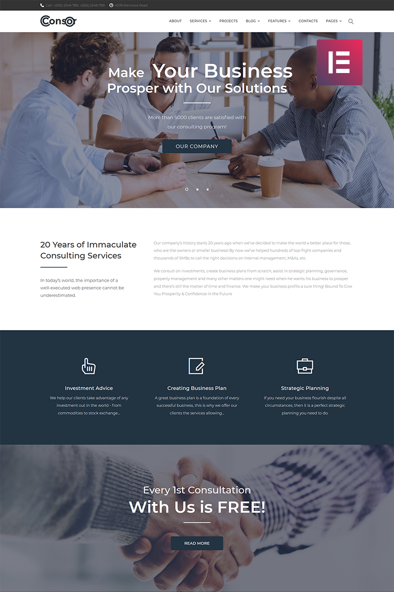 """Consor - Business Consulting Elementor"" 响应式WordPress模板 #71650 - 截图"
