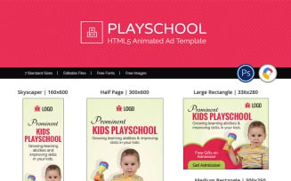 Education & Institute   Kids Playschool Ad Animated Banner