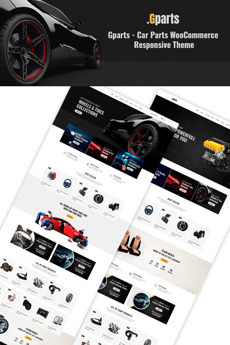 """Gparts - Car Parts Responsive"" Responsive WooCommerce Thema №71662"