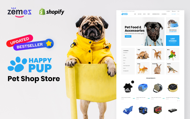 """Happy Pup - Pet Shop Store"" - адаптивний Shopify шаблон №71619"
