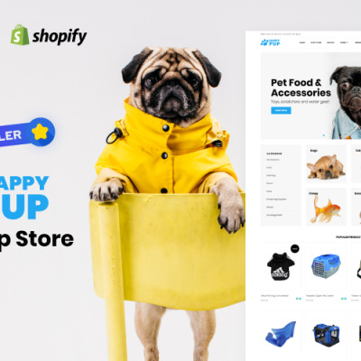 Happy Pup - Pet Shop Store Shopify Theme #71619