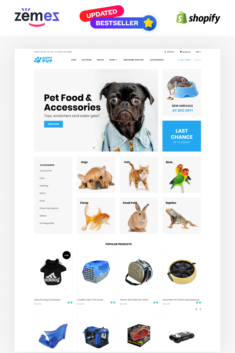 """Happy Pup - Pet Shop Store"" 响应式Shopify模板 #71619"