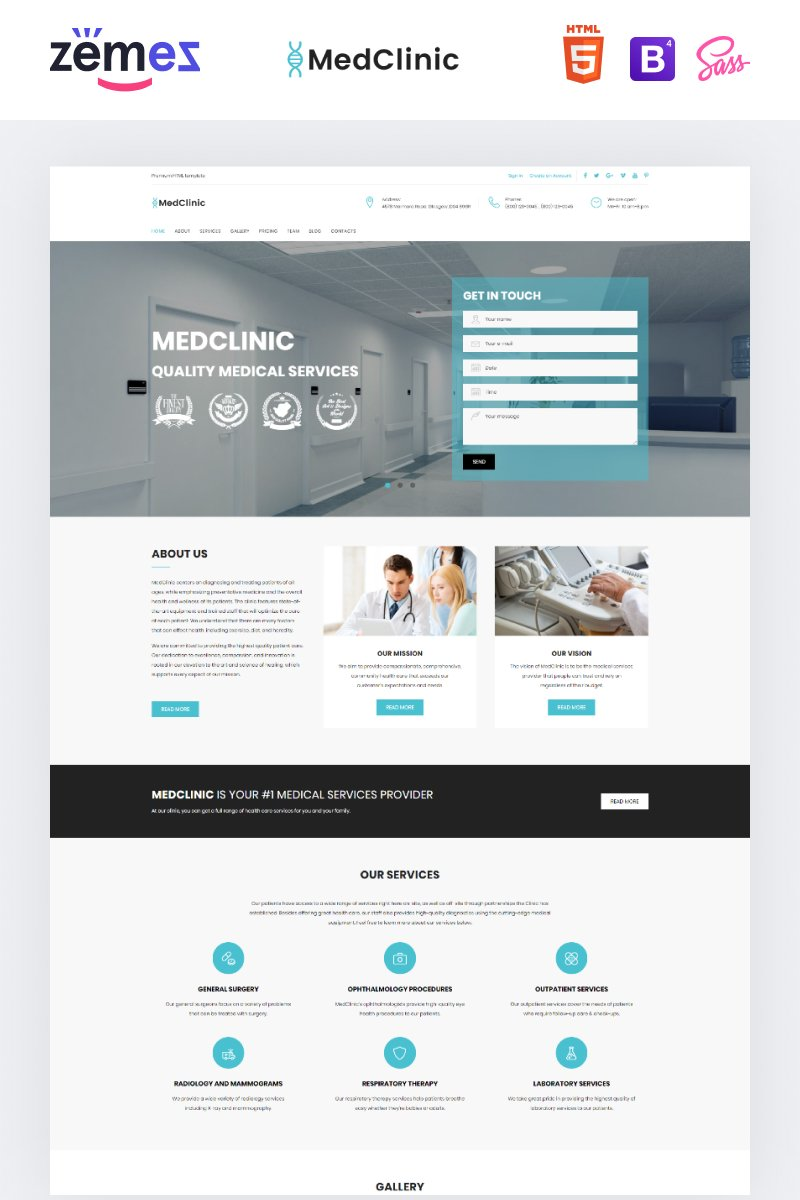"""""""MedClinic - Private Medical Clinic HTML5"""" 响应式着陆页模板 #71682"""