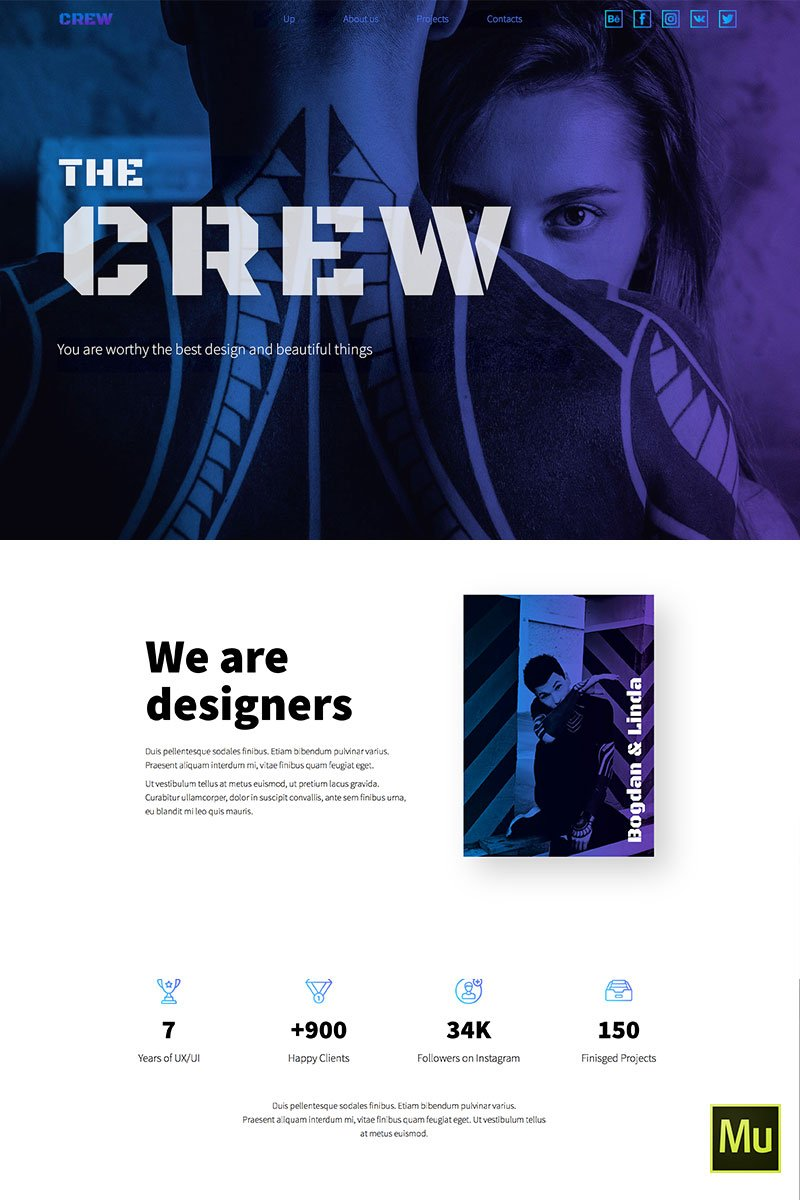 "Muse Template namens ""THE CREW - Horizontal Parallax / Landing Page"" #71624"
