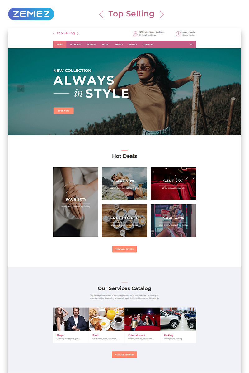 "Plantilla Web ""Top Selling - Fashion Store Multipage HTML5"" #71681"