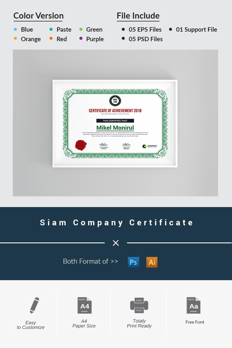 Siam Company Certificate Template
