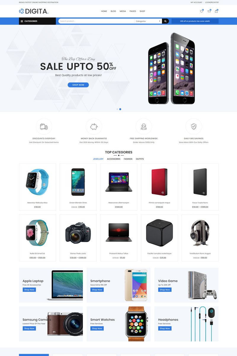 """Tema WooCommerce """"Digita - Electronics"""" #71601 - captura de pantalla"""