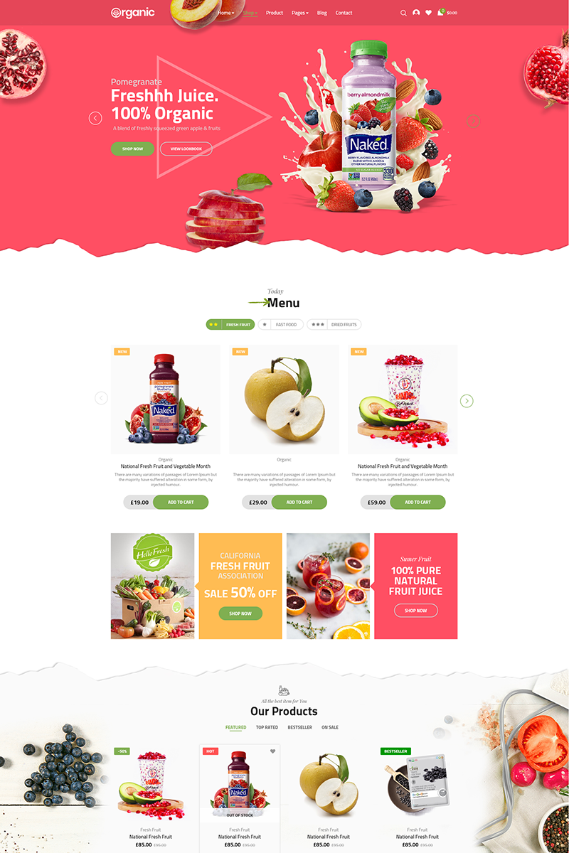 """Tema WooCommerce """"Organic"""" #71673 - captura de pantalla"""