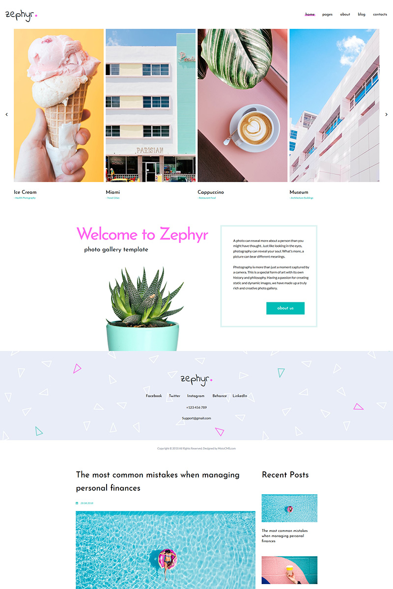 """Zephyr - Creative Projects"" 响应式照片库模板 #71663"