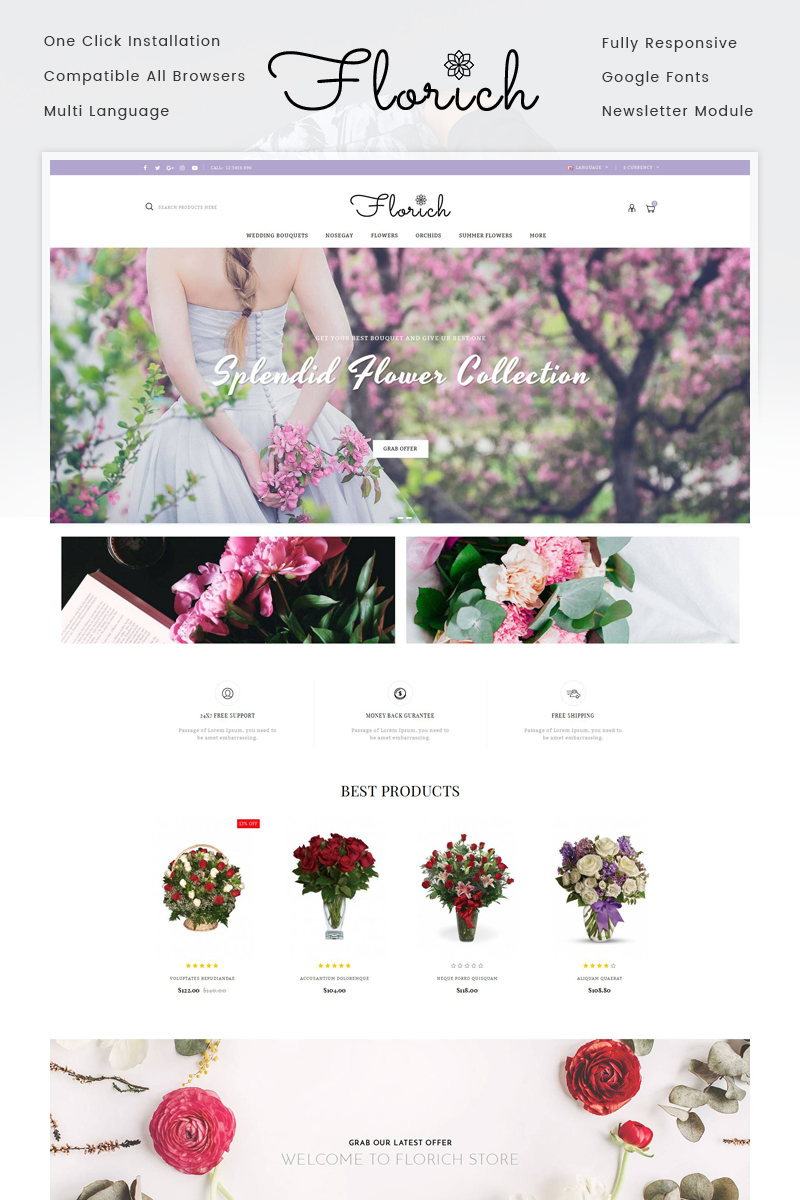 Website Design Template 71742 - jewelry bouquets gifts opencart template minimal modern quickstart activity bootstrap responsive blog parallax