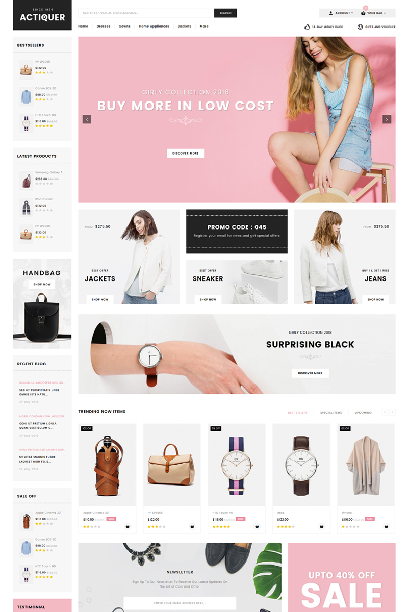 Website Design Template 71764 - clothes cosmetic fashion design flowers furniture home decor kids lighting multipurpose shoes watches prestashop