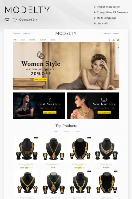 Website Design Template 71767 - shopify theme boutique bracelets diamond elegant feminine jewel jewellery jewelry mens opencart womens rtl responsive