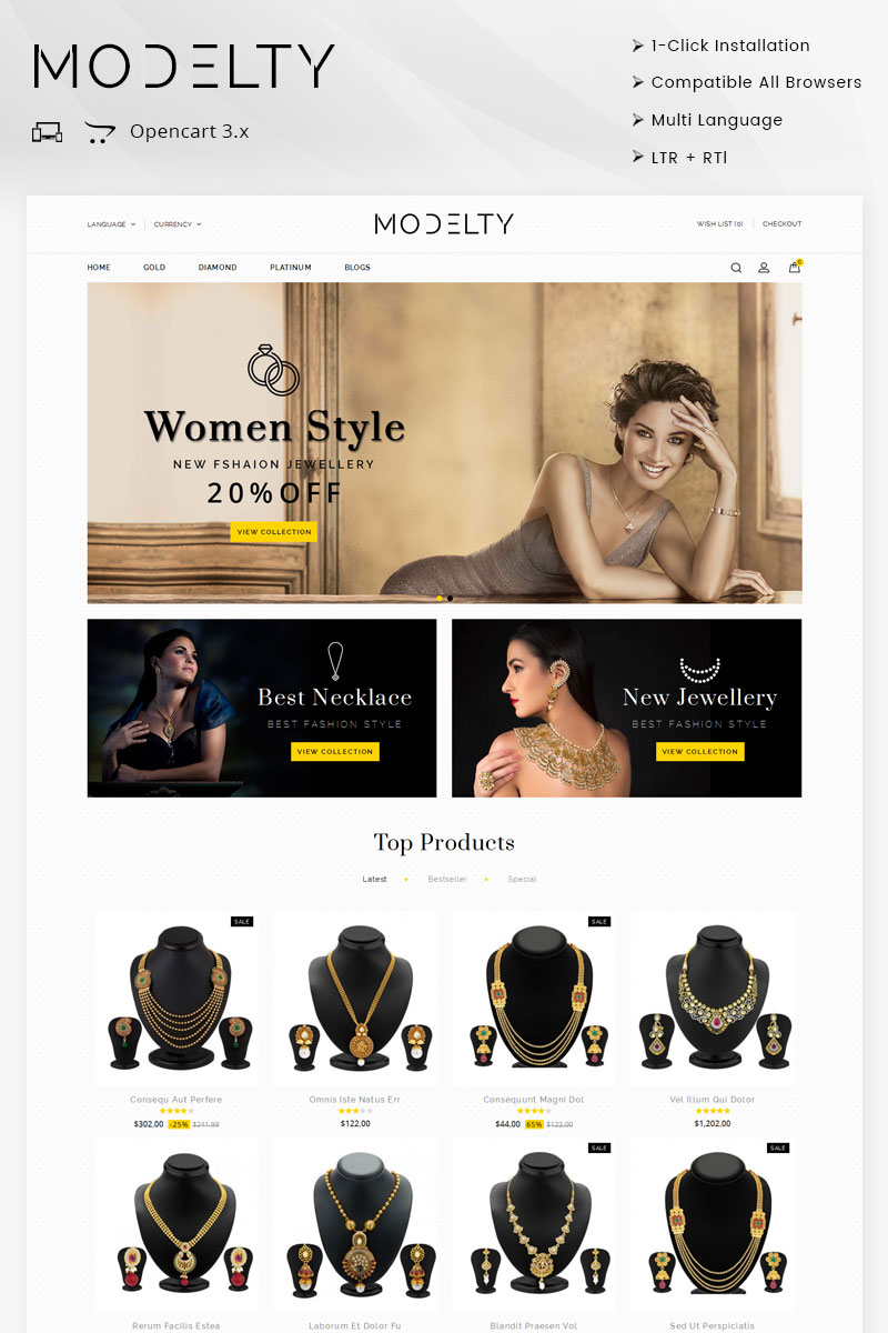 Website Design Template 71767 - theme boutique bracelets diamond elegant feminine jewel jewellery jewelry mens opencart womens rtl responsive
