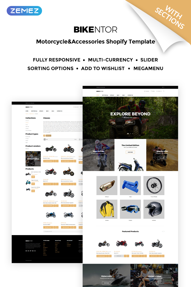 """Bikentor - Extreme Motorcycle Online Store"" - адаптивний Shopify шаблон №71788 - скріншот"