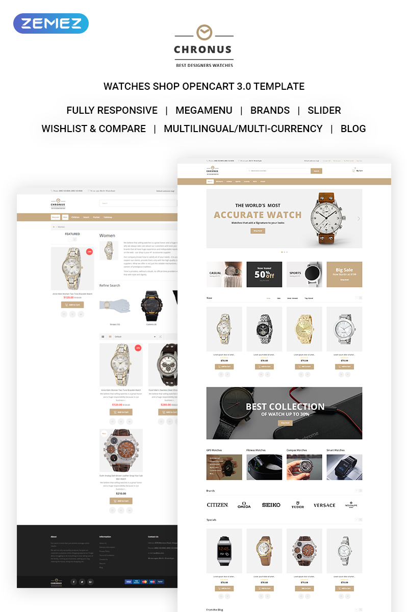 """CHRONUS - Watches Shop"" Responsive OpenCart Template №71718"