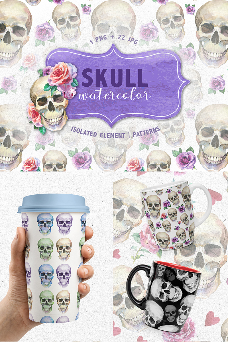 """Cool Skull Print PNG Watercolor Creative Set"" illustration  #71721 - screenshot"