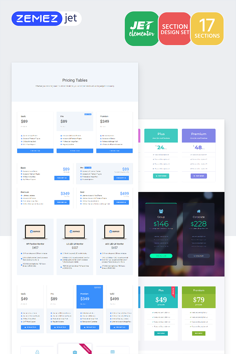 Picex - Pricing Tables Jet Sections Template de Elementor №71758