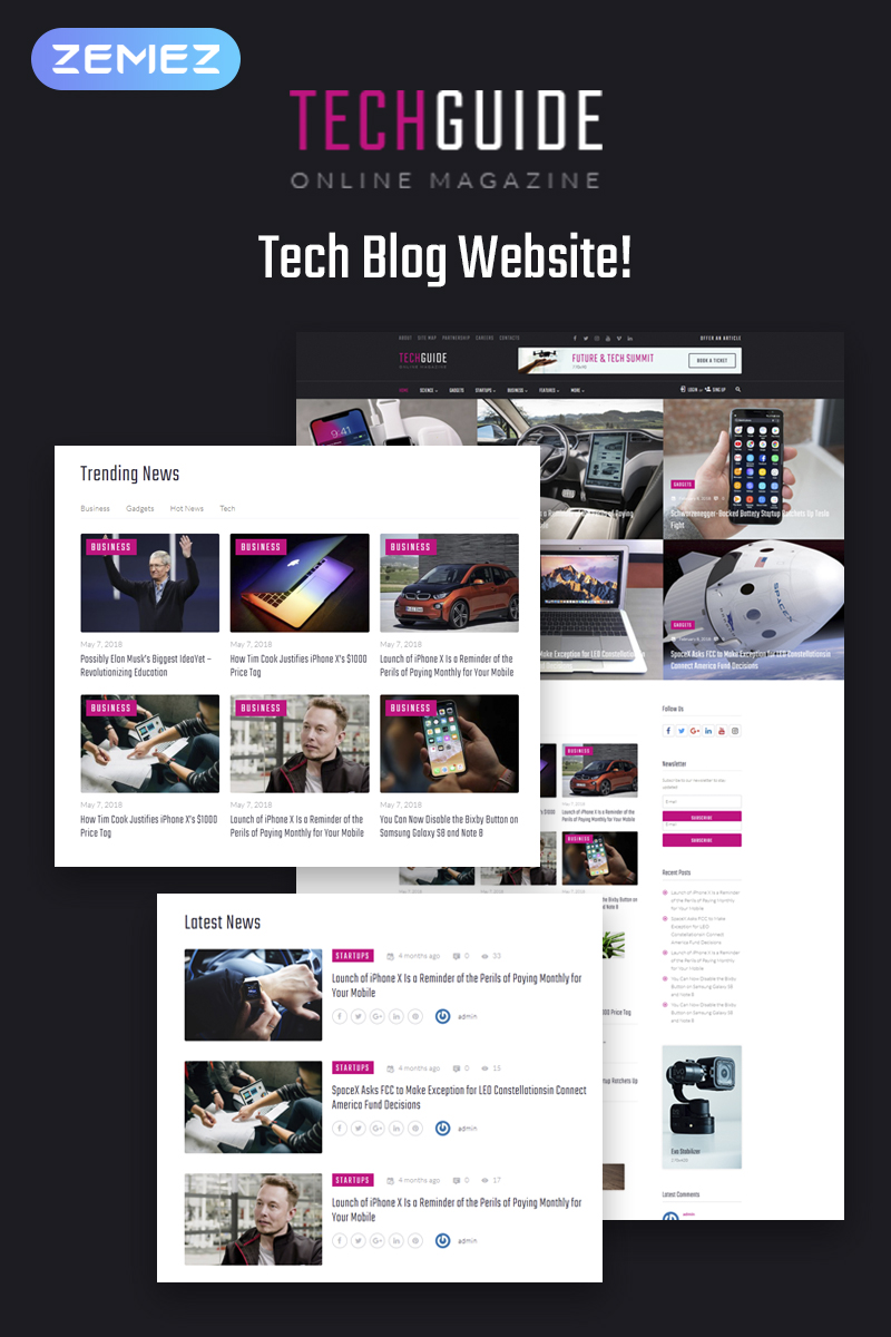 "Responzivní WordPress motiv ""Techguide - Tech Blog Elementor"" #71739"