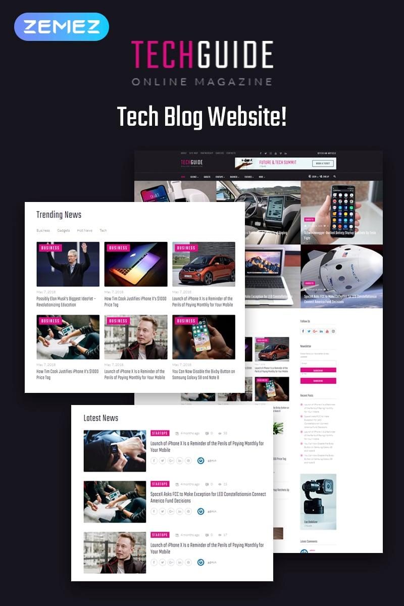 Reszponzív Techguide - Tech Blog Elementor WordPress sablon 71739
