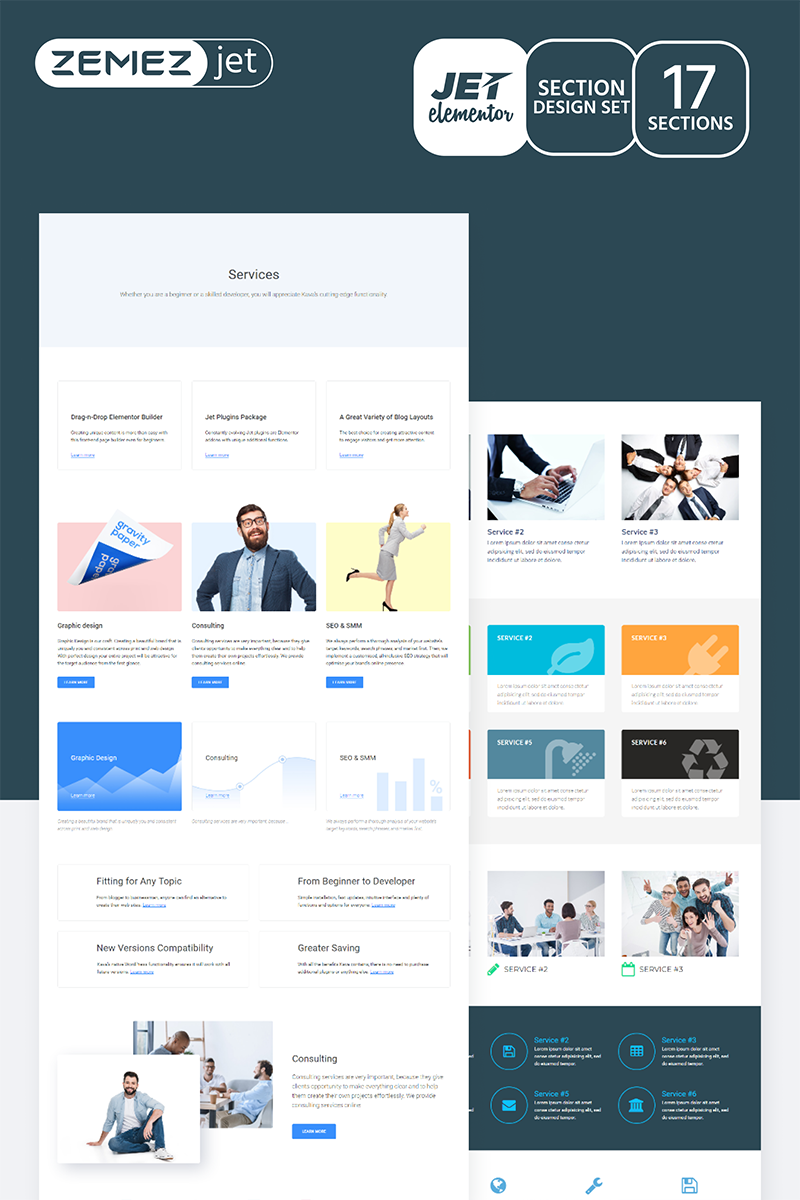 """Serwin - Services Jet Sections"" Elementor Template №71755"