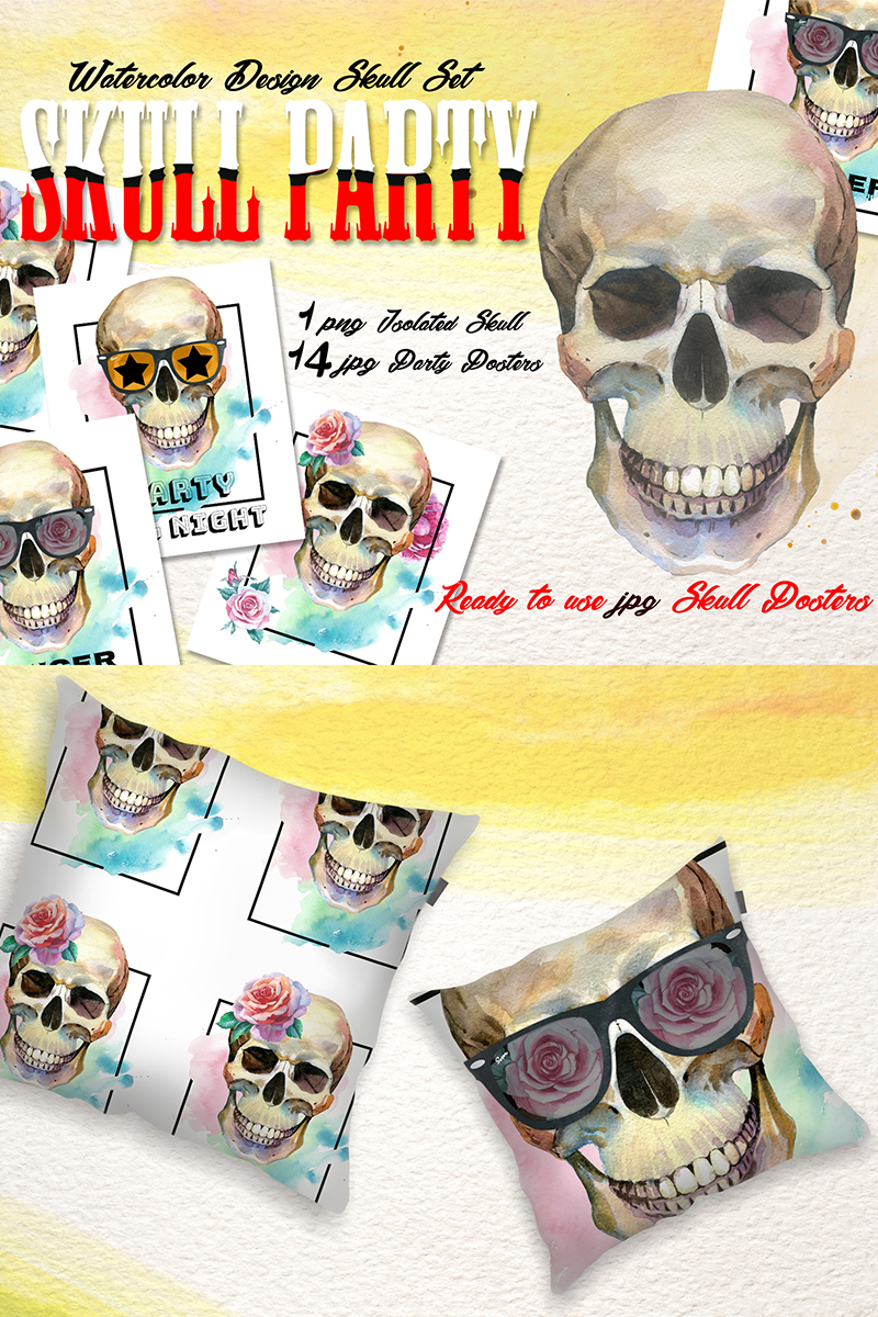 Skull Party Print PNG Watercolor Set  Illustration - screenshot