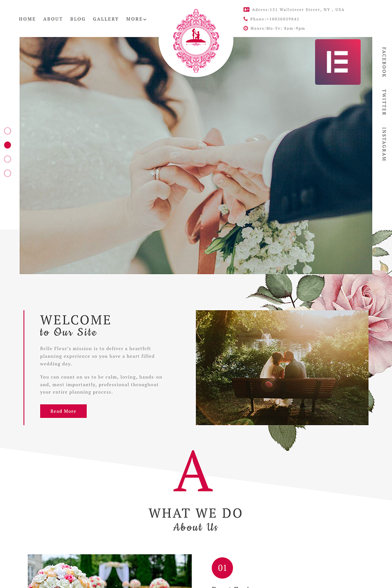 "Tema De WordPress ""ForeverLove - Wedding Landing Elementor"" #71765 - captura de pantalla"