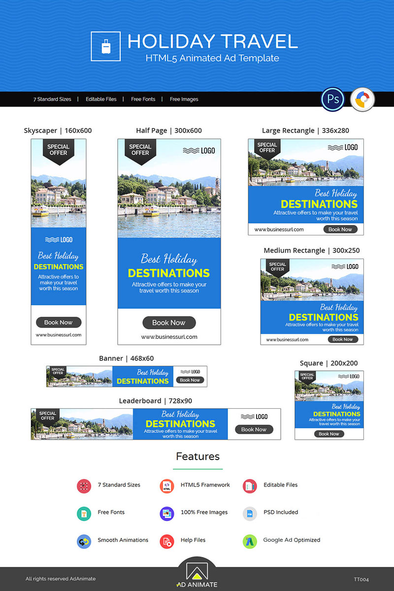 Tour & Travel | Holiday Travel Banner Ad Templates Animated Banner