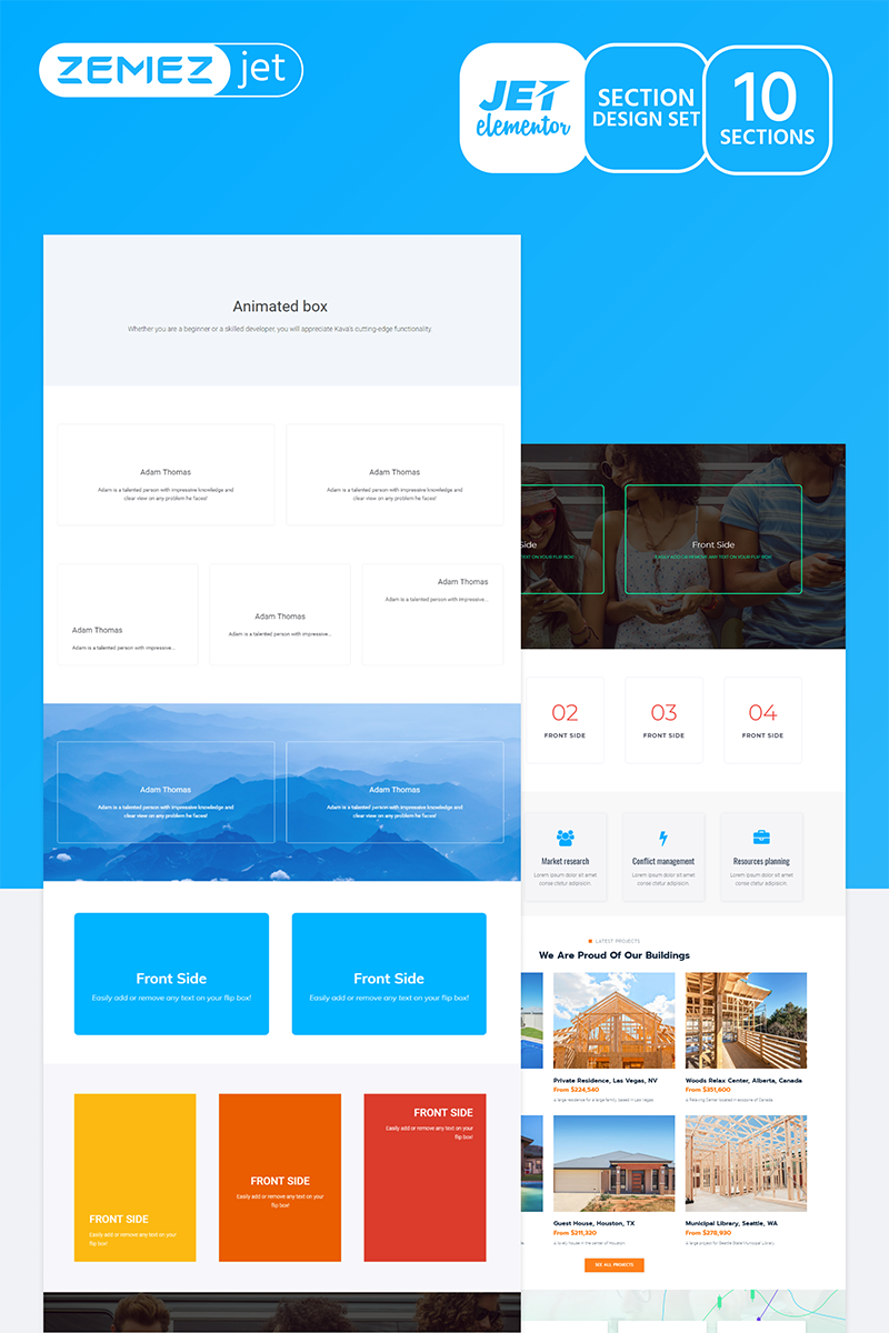 """Vividy - Animated Box Jet Sections"" Elementor Template №71763"