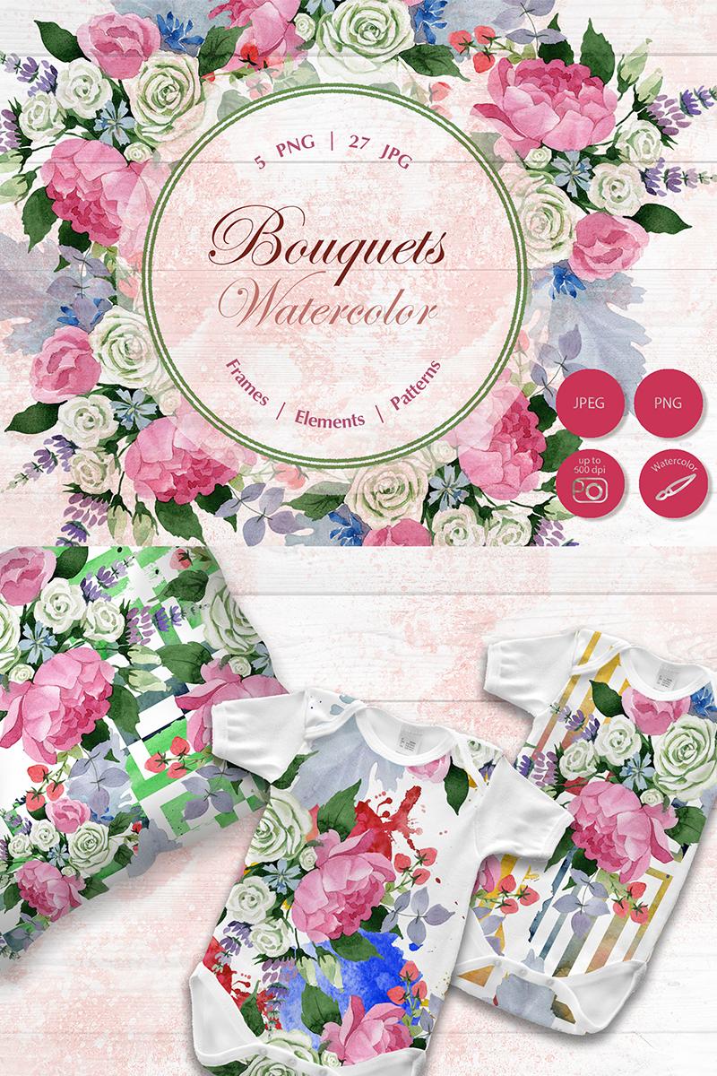 Wedding Watercolor Bouquets PNG Set Illustration - screenshot