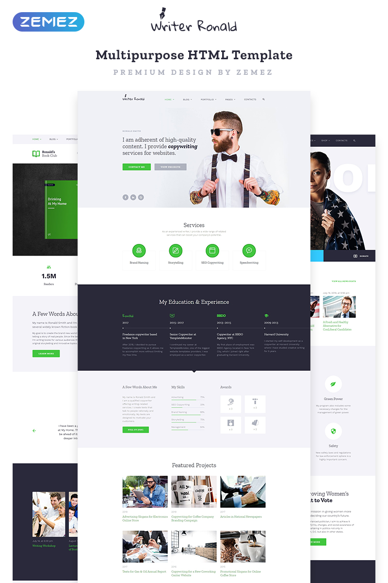 Writer Ronald - Universal Personal Multipurpose HTML Website Template