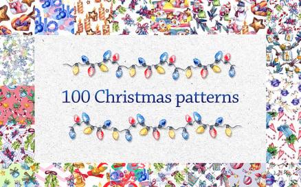 100 Patterns Of Christmas JPG Watercolor Set Illustration