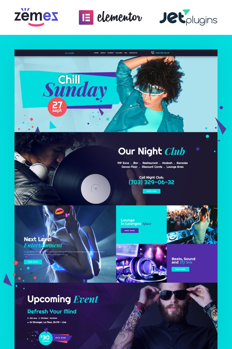 Loungez - Night Club WordPress Elementor Theme WordPress Theme