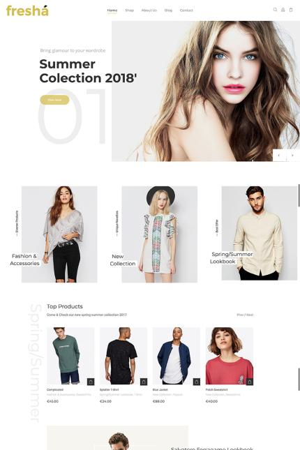 Website Design Template 71857 - modern fresh elegant woocommerce store optimized minimal responsive boutique business clothing lookbook luxury
