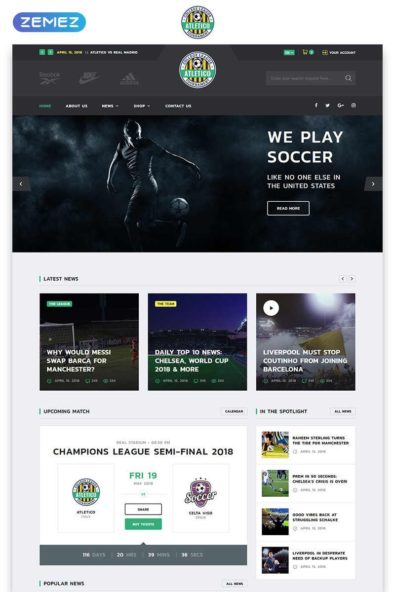 Soccer Multipage HTML5 Website Template