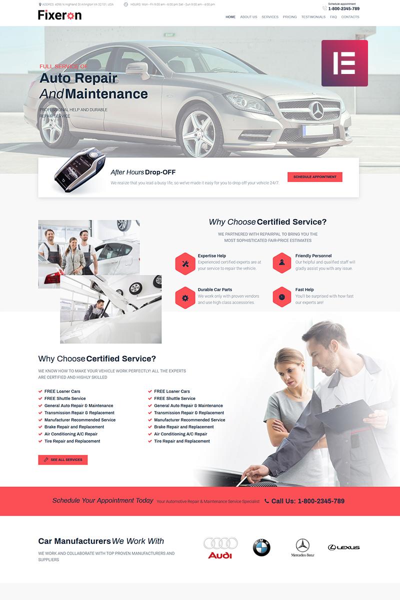 """""""Fixeron - Car Repair Elementor"""" - адаптивний WordPress шаблон №71842"""