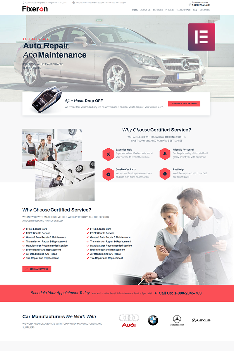 Fixeron - Car Repair Elementor WordPress Theme