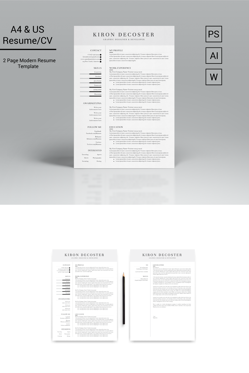 Kiron Decoster Classic & Simple Resume Template