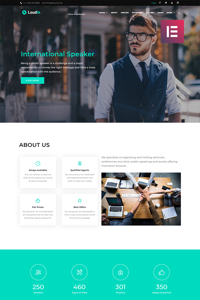 Loudin - Public Speaking Elementor WordPress Theme - screenshot