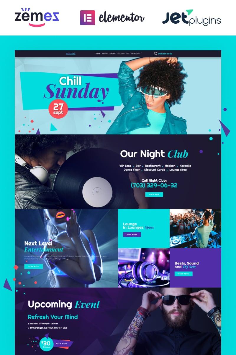 Loungez - Night Club Elementor Tema WordPress №71845