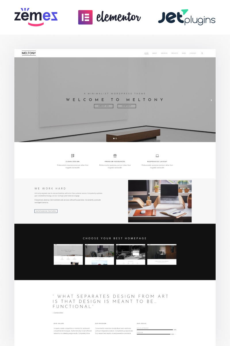 """Meltony - Minimalist for Any Businesses"" 响应式WordPress模板 #71806"