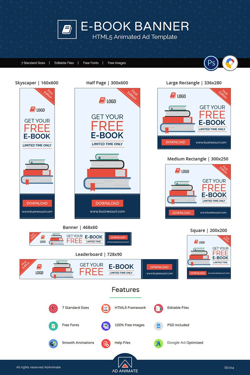 "Modello Animated Banner #71873 ""Shopping & E-commerce | E-book"" - screenshot"