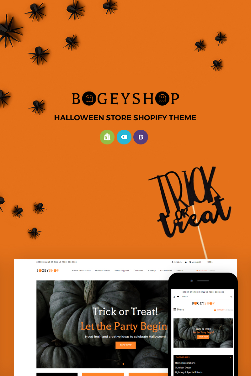 "Modello Shopify Responsive #71816 ""Bogey Shop - Elegant Party Supplies Online Store"" - screenshot"