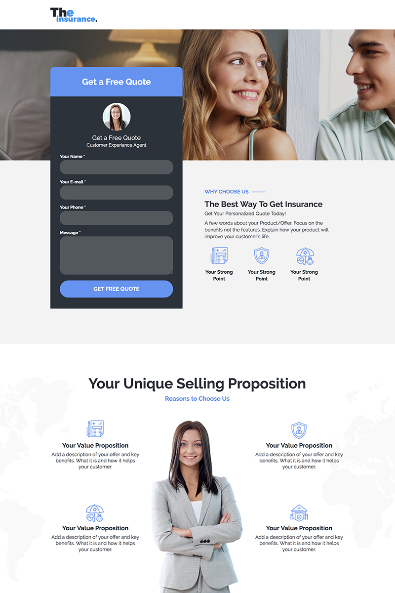 "Modello Unbounce #71804 ""Family Insurance - Responsive Landing Page"""