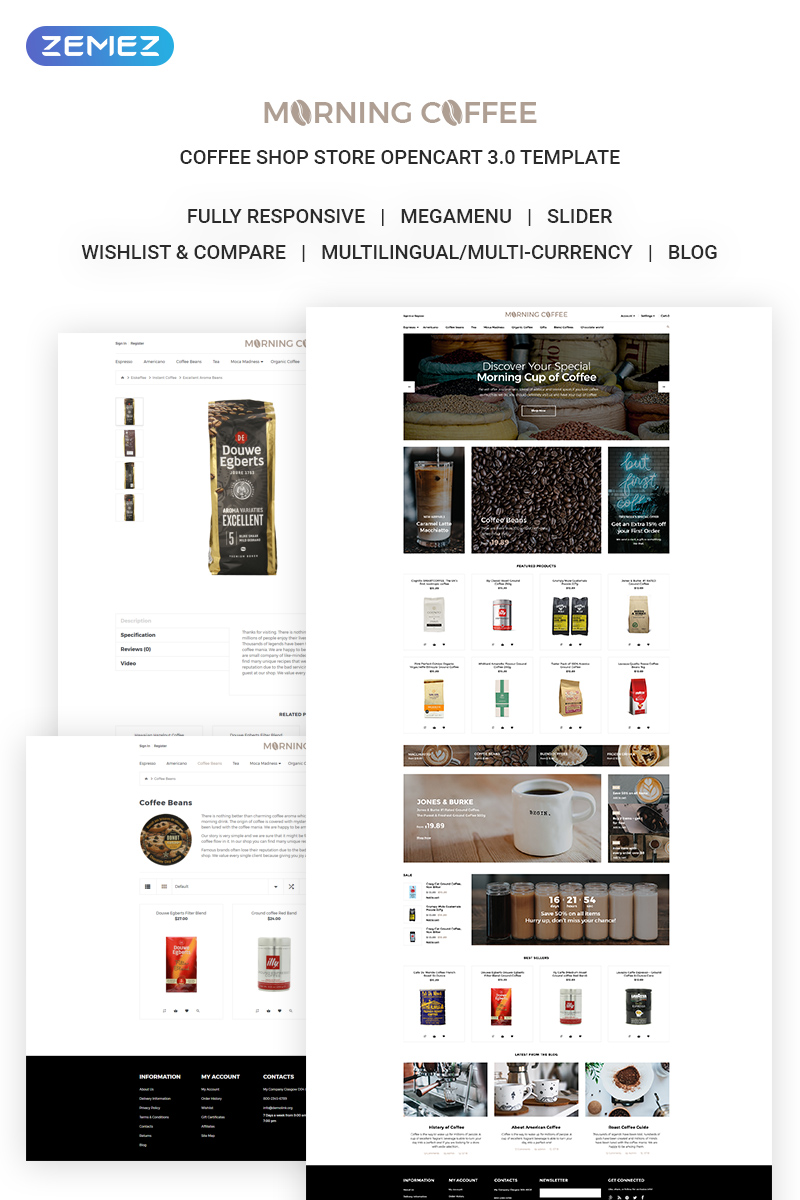 Morning Coffee - Powerful Online Coffee Shop OpenCart Template