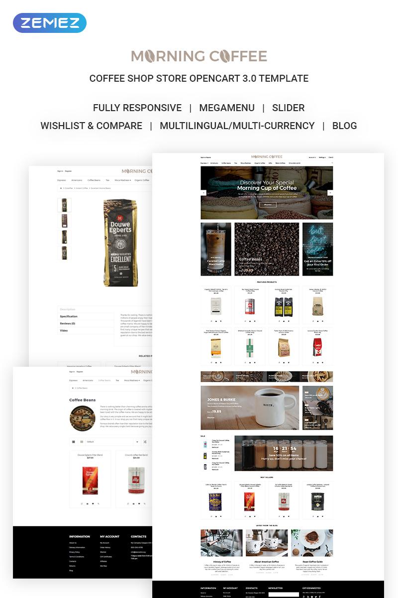 """Morning Coffee - Powerful Online Coffee Shop"" thème OpenCart adaptatif #71879"