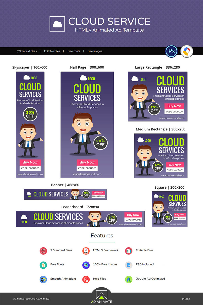Professional Services | Cloud Service / Hosting Banner Ad Animated Banner - screenshot