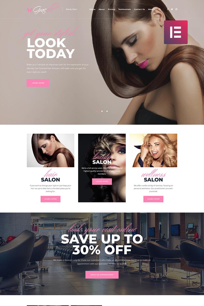 Responsive Gracell - Beauty Salon Elementor Wordpress #71864