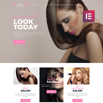 Responsive Gracell - Beauty Salon Elementor Wordpress Teması #71864