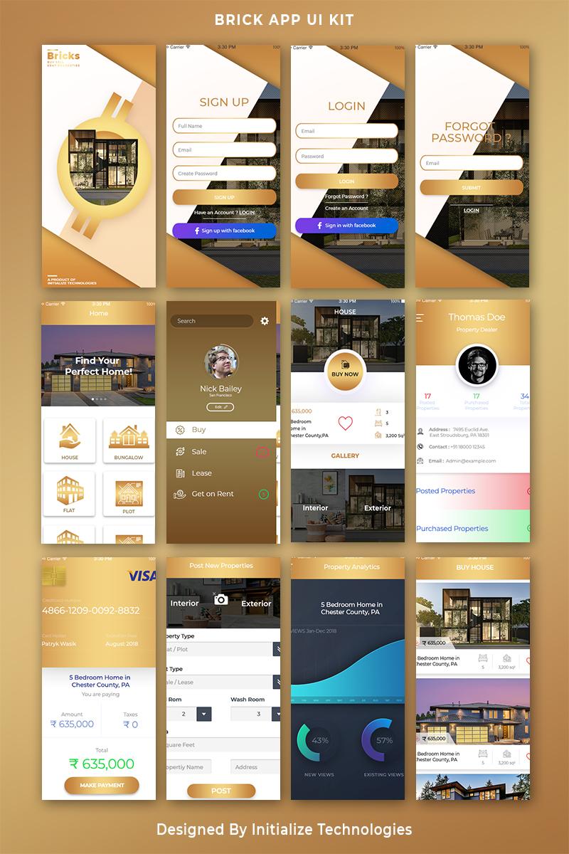 Responsivt Bricks Mobile App UI PSD-mall #71846